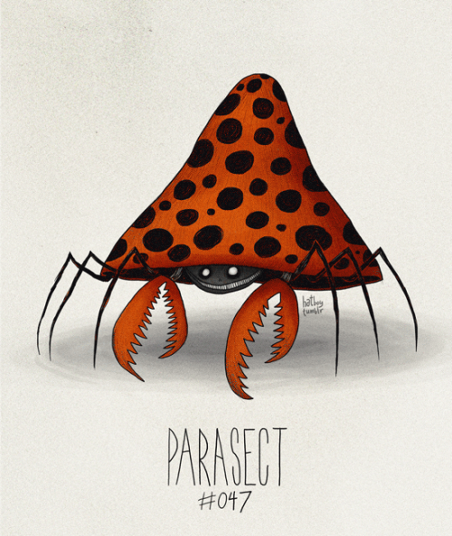 Parasect #047 Part of The Tim Burton x PKMN Project By Vaughn PinpinFun fact about Parasect (and this is official Pokemon info): the Pokemon at this stage has been completely consumed by the fungus on its back and is now in control of the insectoid Pokemon. So the bug part of Parasect isn't technically the Pokemon anymore, it's the parasitic toadstool. Creepy as heck.