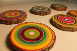 ifounditonetsy:  Click here to get a set of these funky reclaimed wood coasters.