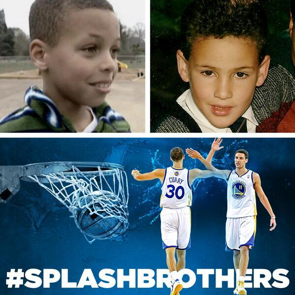 nbaoffseason:  thescore:  The Splash Brothers (Klay Thompson and Steph Curry were about this old the last time the Warriors beat the San Antonio at Home). Photo via @Warriors.  Steph Curry has been adorable his entire life. Then again, he's still in middle school.