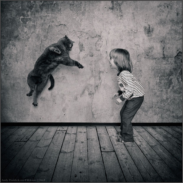 "Photoblog Spotlight:  ""Little Girl and Tomcat"" Russian economist Andy Prokh is passionate about photography and has been capturing his four year old daughter Catherine's friendship with their six-year-old British shorthaired tomcat Lilu. Although photo-editing has been widely used in these photos, it was capturing the perfect moments that made these photos even more special. Check out his blog here."