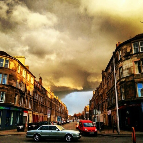 Crazy gold clouds (at Leith Walk)