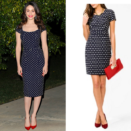 Look for Less: Emmy Rossum in Stop Staring Emmy's exact dress is available from Zappos for $125.  For a look for less, try this Forever 21 dress for only $34.