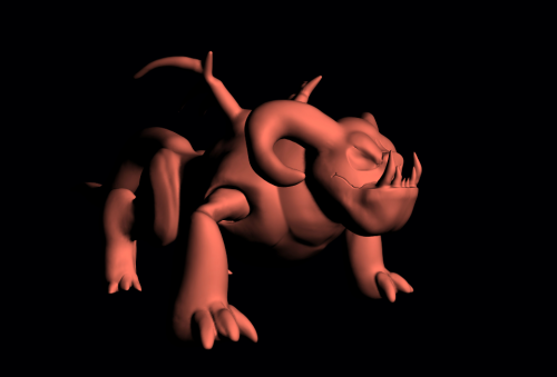 This was a 3D model of my Brute Fiend character that I made in 2011 but apparently never uploaded either; it lacks fur and its wing membranes because I was going to try and do that through texturing and mapping-but of course neither of those are my strengths whatsoever so the model is still naked to this day