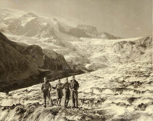 theroamer:  Four mountaineers, two women and two men, on the Nisqually Glacier, Mount Rainier National Park, Washington, ca. 1925.
