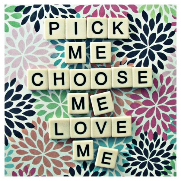 8x8 greys anatomy quote pick me choose me love me scrabble tiles…   (clipped to polyvore.com)