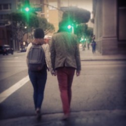 #Love on the #street #DTLA #couple #city #lights