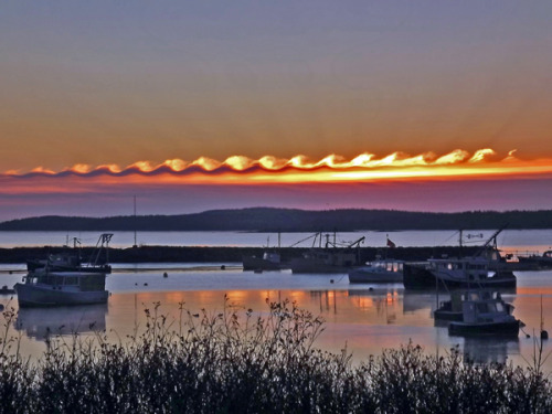 fuckyeahfluiddynamics:  These wave-like Kelvin-Helmholtz clouds can form due to shear between different layers of air in the atmosphere. When one region of air has a higher velocity than the other, their interface forms a shear layer, which can break down in this wavy pattern. In this case, the lower layer of air was moist enough to form condensation and clouds, making the pattern visible to the naked eye. (Photo credit: Gene Hart; via Flow Visualization)