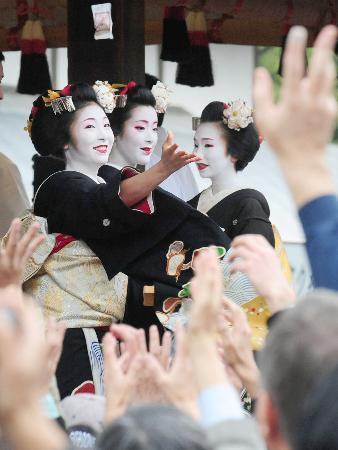 "Setsubun - February 2-4th - Hanamachi: Gion Kobu, Gion Higashi, Pontocho, Kamishichiken, Miyagawacho Setsubun is the day preceding risshun that is the first day of spring according to the old Japanese calendar, or the so-called lunar calendar. On the day of Setsubun, there is the custom of mamemaki(literally ""bean throwing""). Roasted soybeans (called ""fortune beans"" (fuku mame)) are thrown either out the door or at a member of the family wearing an Oni (demon or ogre) mask, while the people say ""Demons out! Luck in!"" (鬼は外! 福は内! Oni wa soto! Fuku wa uchi!) Although this is not common practice in households anymore most people will attend a shrine or temple's spring festival where this is done. The beans are thought to symbolically purify the home by driving away the evil spirits that bring misfortune and bad health with them. Then, as part of bringing luck in, it is customary to eat roasted soybeans, one for each year of one's life, and in some areas, one for each year of one's life plus one more for bringing good luck for the year to come. (sources: 1