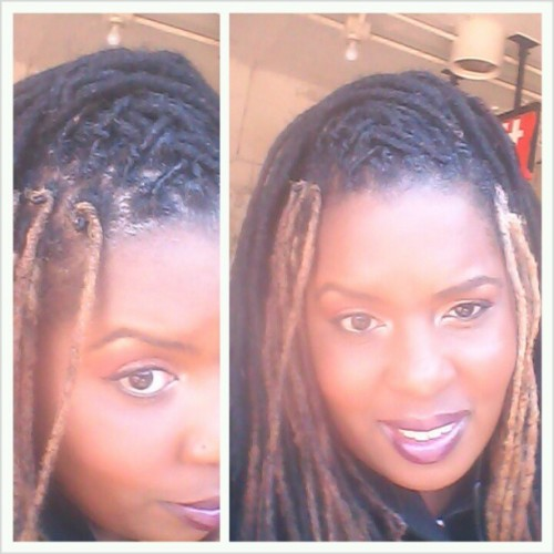 Front #retwist only cause #aintnobodygottimefordat The purple faded so now I've got a #blonde #color #block #locs #dreadlocks #dreads #naturalhair #nofilter