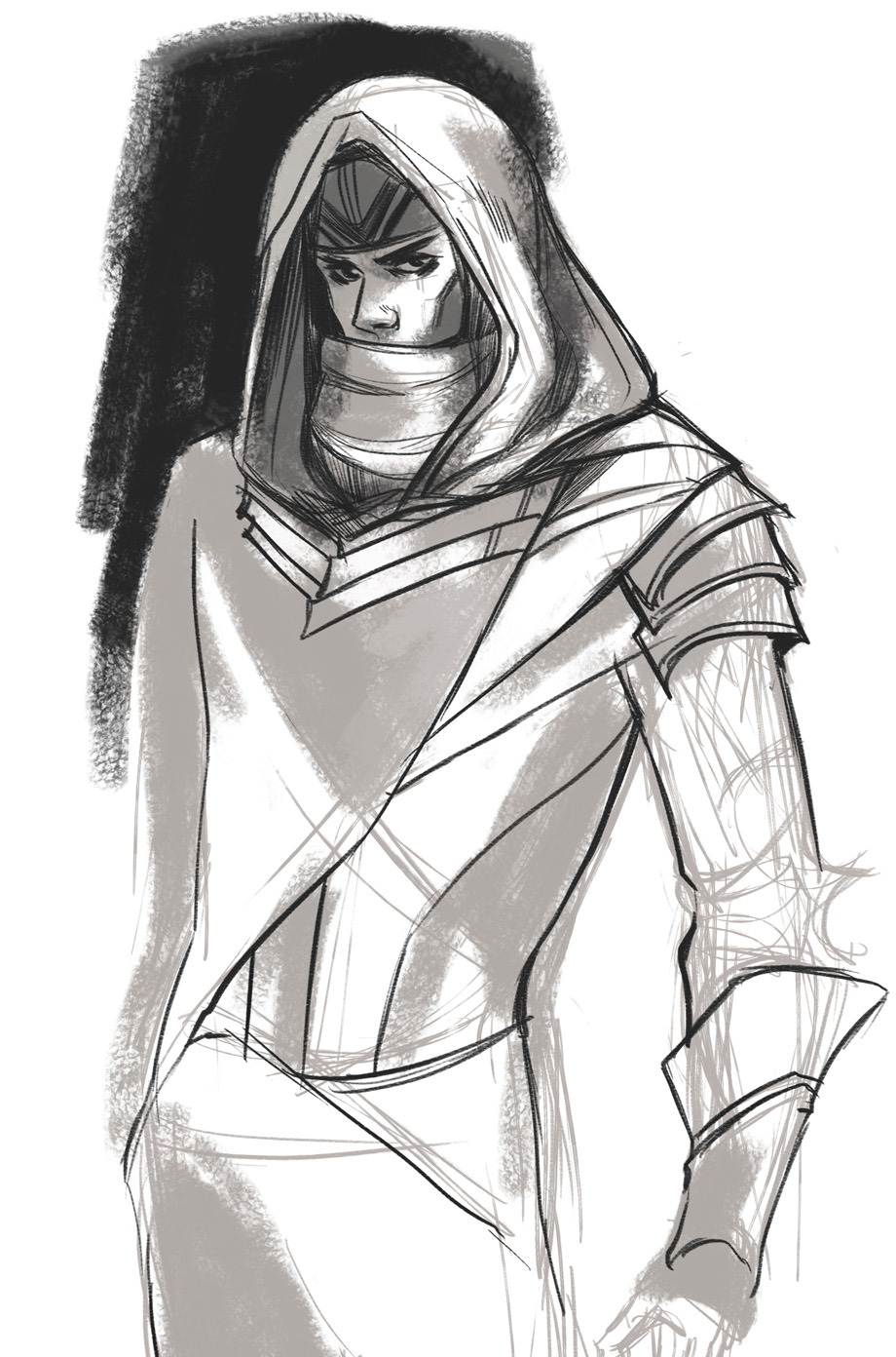 I can't really draw hoods so I thought I'd practice a bit. As you can see I'm pretty bad (hopefully that will change lol). It was supposed to be someone else but it just turned into random doodling. I need to practice drawing original stuff anyways so this is a start?  If you guys have any tips as to how I can improve and/or just boosting creativity, feel free to drop me a message :)