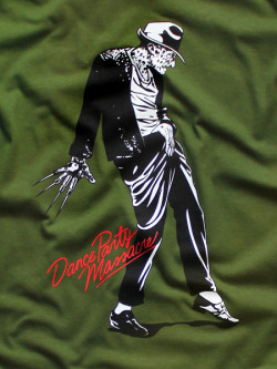 Limited edition Freddy Krueger/Michael Jackson mash-up tee. This special colorway is not just reminiscent of the holidays, but also Freddy's famous striped sweatshirt. Only 25 printed.