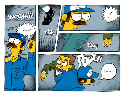 A little sample from the pages I've been working on for #bartkira.  These are some of my favourite panels.  I love drawing Ned.