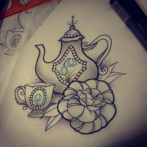 Still in need of a few little changes, fir wednesday! :) #tattoodesign #teapot #art #design #drawing #rose #tattooartist #tattoos #iguk #instagood #ignation #igers