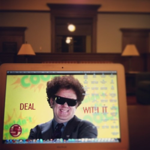 Stressed about finals? #dealwithit #stevebrule #drsteve #finals #craycray #channel5 #timanderic #readingroom #cooldude  (at William Allan Neilson Library)