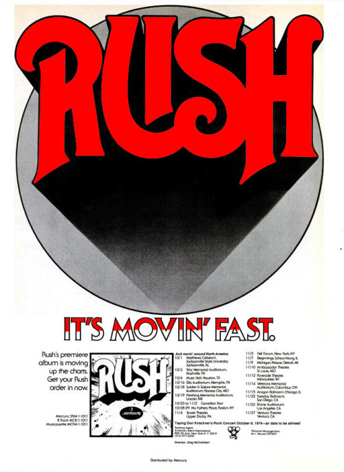 chrisgoesrock:  Rush - First Album Advertising 1974
