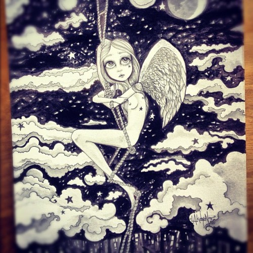 #black&white #watercolor #ink #illustration #hive #show #angel #clouds #stars #moon #losangeles #cityofangels