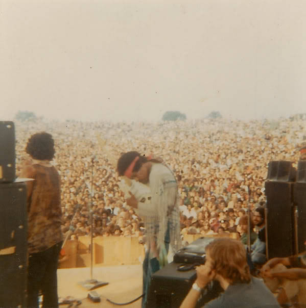 The crowd at woodstock to see Jimi Hendrix. 1969.