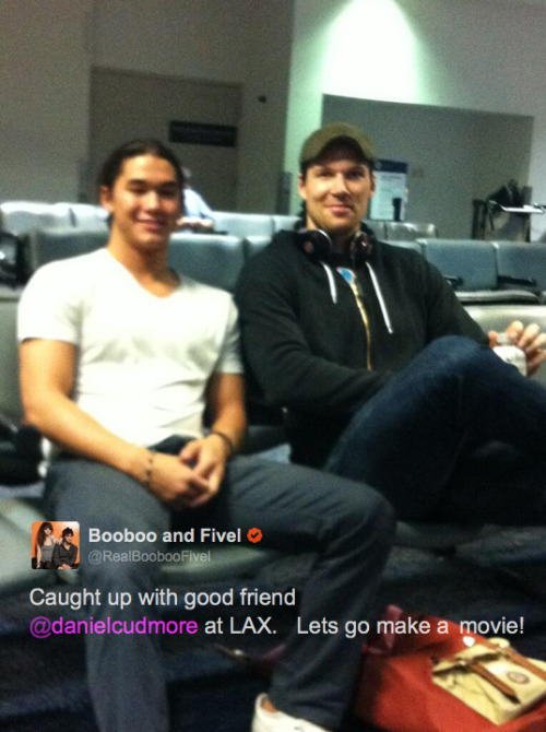 fuckyeahdanielcudmore:  Daniel and Booboo Stewart at LAX on their way to start filming X-Men: Days of Future Past.