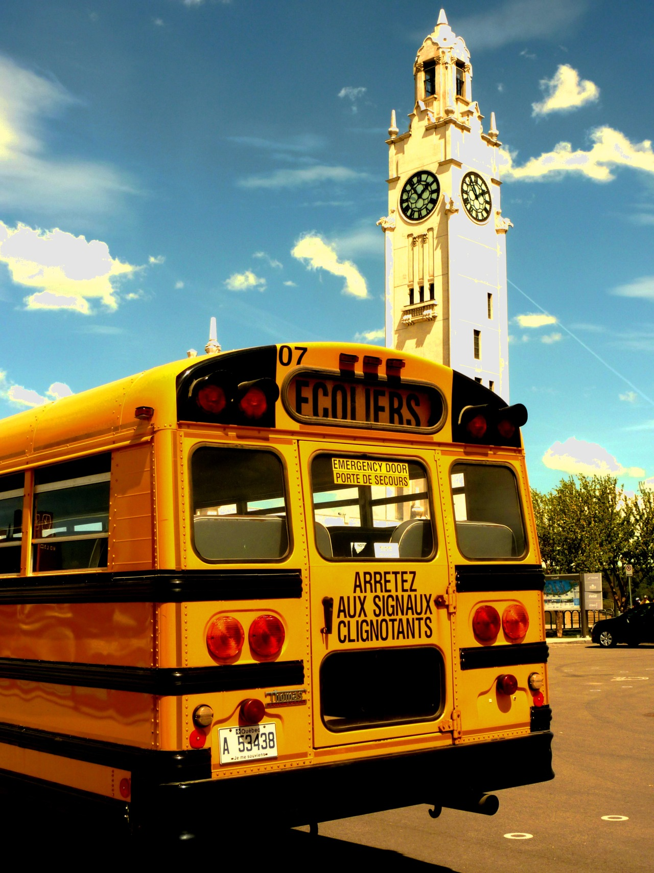 Montreal, School bus and Clock Tower By D. Caro
