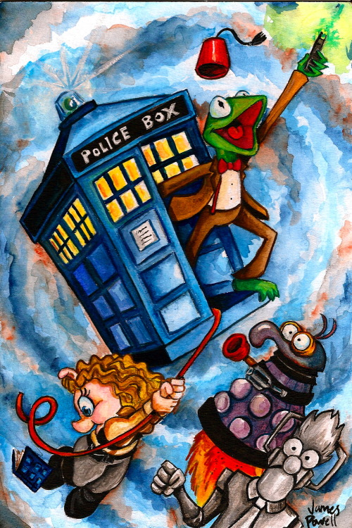 doctorwho:  jamespowellart:  Having a bit of a Doctor Who/Muppet/Watercolor day….how about you?  Today is Fan Art Friday. Reblog your favorite Doctor Who fanart. Let us know about it via our Ask. We'll reblog some of our favs.  This is awesome