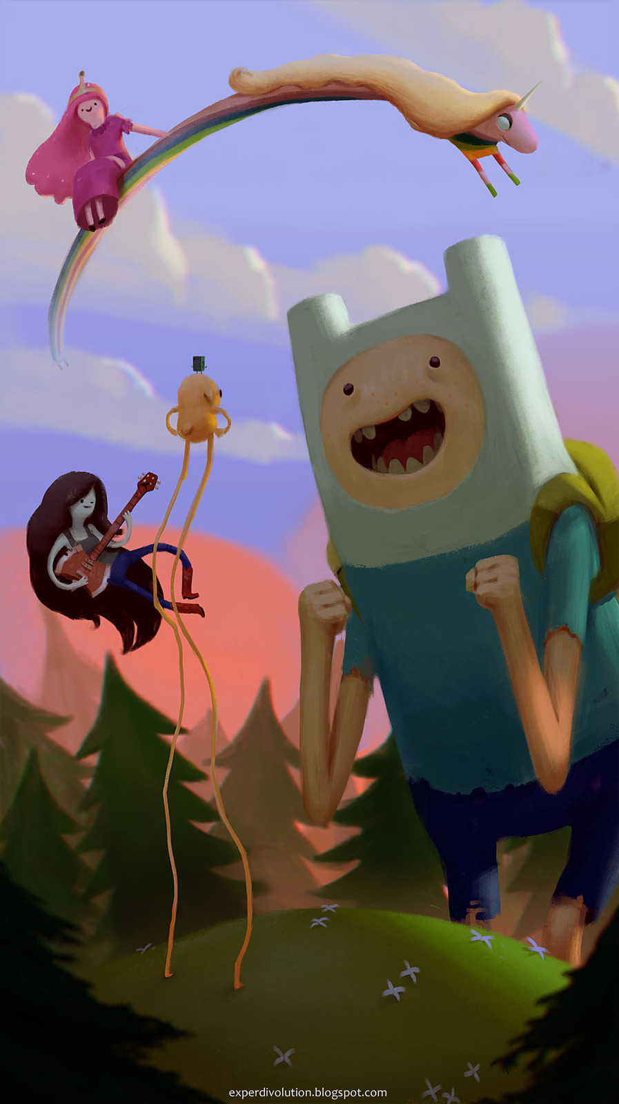 My current phone wallpaper, because it's the tits! Adventure time team up by Zedig