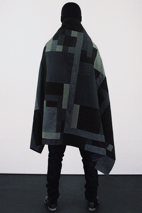 lanoirebeast:   Label Under Construction Fall/Winter 2012Rationalized Scraps Cape/Blanket  Fashion Daily Here