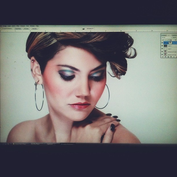 Snap shot of my computer screen of Ale from the Spectra Cosmetics photo shoot.