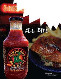 Dinosaur Bar-B-Que SauceIntegrated Advertising Campaign Dinosaur Bar-B-Que Sauce is a line of sauce created by the owners of the famous Dinosaur Bar-B-Que restaurant. This national campaign seeks to get Dinosaur Bar-B-Que Sauce greater distribution with food retailers. It centers around the idea of a rampaging dinosaur taking bites out of ads and gets consumers involved by having them use the ads to help track his movements.