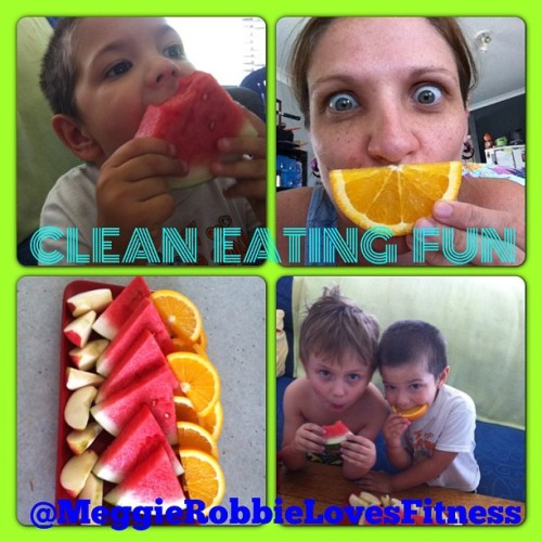 Afternoon tea fun with my boys #ljcleaneating #nosugarchallenge #naschallenge yummy fruit for us, one of my boys fav thing to eat 🍉🍊🍎😋 #fitnessfoodandstyle #lornajane #cleaneating #kidsfood #healthyfood #healthykids #healthyisawayoflife #healthychoices #instagood #instagramhealth #nourish #movenourishbelieve #mnb2013
