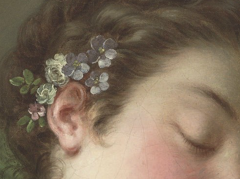 kyparissos:  a sleeping lady, bust-length (detail), circle of françois boucher