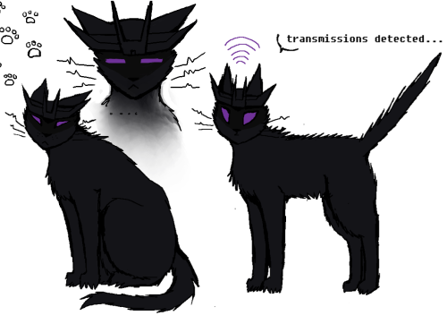 transformertard:  TFP Soundwave kitty~  Haaaaa :D Now I want to read a story where Soundwave's default form is a huge black cat. Imagine a big (but completely silent and stealthy) panther-like mech strolling around Nemesis (and freaking out/intimidating almost everyone). Imagine his purple eyes as screens showing the needed data. And his cat-like relationship with Megatron and other members of the crew (I kinda want to be petted by you/I'll claw your optics out if you touch me)