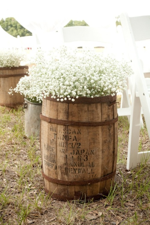 Whiskey barrels.