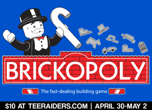 "Take a trip back to your childhood! ""Brickopoly"" by Coinbox Tees is a fantastic mashup t-shirt between Legos and Monopoly! Don't miss out on this awesome design at TeeRaiders.com for 3 days only."