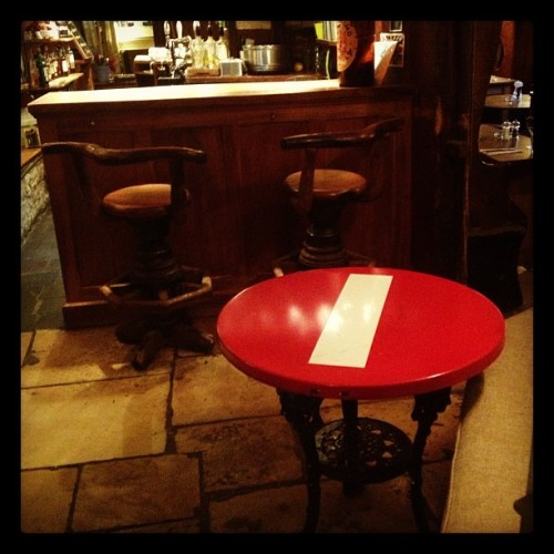 "Cool use of ""No Entry"" sign as a table"