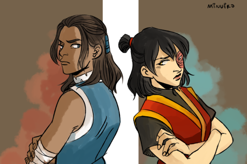 minuiko:  m!Katara and f!Zuko (after Zuko joins the group, pre-Southern Raiders)
