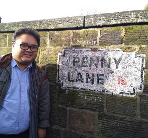 'Penny lane is in my ears and in my eyes There beneath the blue suburban skies' - from the 1967 song Penny Lane by the Beatles (at Penny Lane)