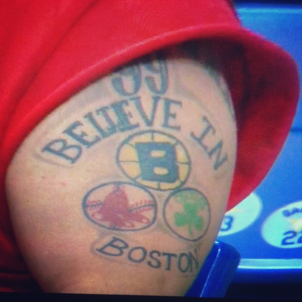 Close up of WORST TATTOO EVER on NESN