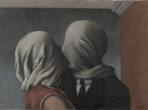 "theparisreview:  In Magritte's painting Les Amants a man and a woman arekissing. But it can't be much fun because they havecloths over their heads so they can't see each other.I know two lovers who could not see each other correctly.They kissed a lot but what they saw was not really theother person. It was a person each one had made up. Thismade them unhappy but they couldn't stop doing it. Theyhad to make each other up.—James Laughlin, ""Les Amants""Art Credit René Magritte"