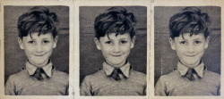 """A Polyphoto strip of John, aged about five, looking sweet and innocent, as his aunt Mimi always liked to remember him"""