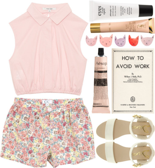 cmbmusic96:   DAY WEAR - GIRLY PINK. por pretty-basic con yves saint laurent foundation ❤ liked on Polyvore Pink shirt, $275 / Flower shorts, $29 / Dune mid heel shoes / Yves Saint Laurent  foundation, $47 / philosophy / Aesop