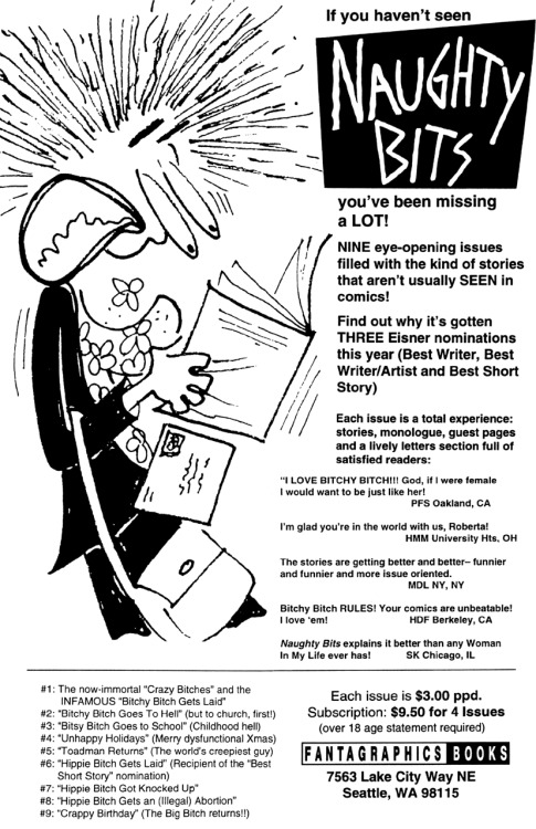 Subscription ad for Naughty Bits by Roberta Gregory, 1991.
