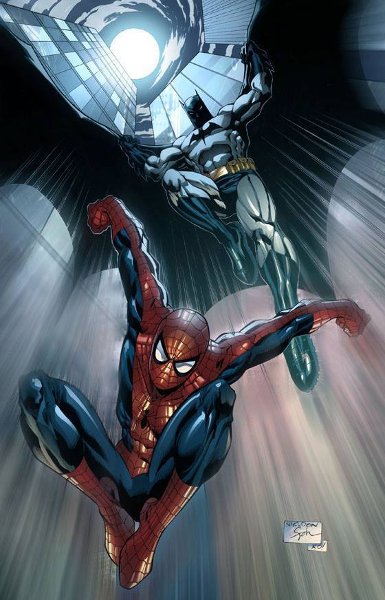 Batman and Spider-Man by Sheldon Goh inks by Tony Kordos, and colours by Bryan Magnaye