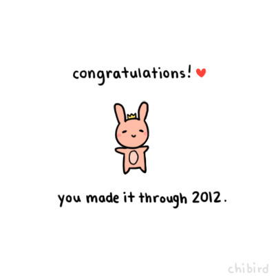 You did it! Through all the ups and the downs, you now have all the experience of another year to take you into 2013. Let's make it a good year. :D