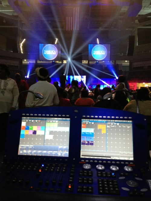 I've spent the past few days in an arena working on a large church production for the largest church in Chicago.  It was a pretty rad show, and I got some on the fly experience with lighting for live broadcast video.