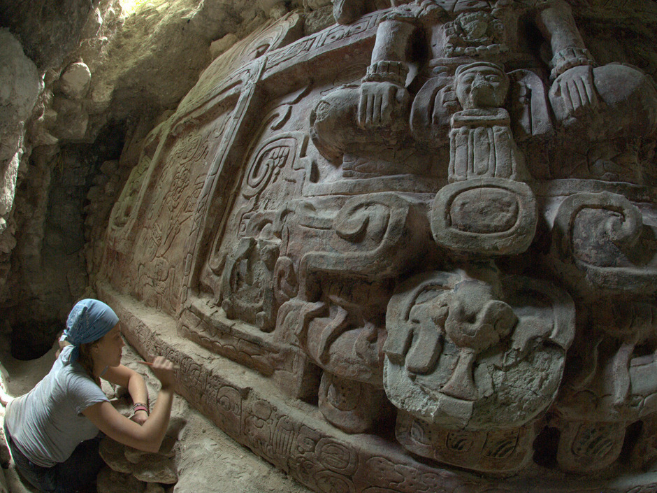 """'The Storm God enters the sky': Archaeologists uncover a 1,400-year-old sculpture of Mayan gods in GuatemalaArchaeologists have found an extraordinary Mayan frieze richly decorated with images of deities and rulers and a long dedicatory inscription, the Guatemalan government said Wednesday.The frieze was discovered by Guatemalan archaeologist Francisco Estrada-Belli, a professor at Tulane University's Anthropology Department, and his team in the northern Province of Peten, the government said in a joint statement with Estrada-Belli.""""This is an extraordinary finding that occurs only once in the life of an archaeologist,"""" Estrada-Belli said. (Francisco Estrada-Belli / Proyecto Arqueologico Holmul / AP Photo)"""