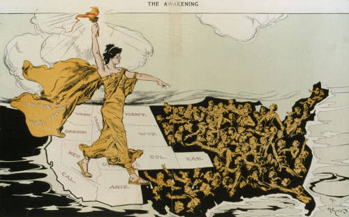 "Here is the text of the poem printed under the woman suffrage cartoon, ""The Awakening"" (illustrated by Hy Mayer), in its original appearance in Punch, 1915:  Look forward, women, always; utterly cast awayThe memory of hate and struggle and bitterness;Bonds may endure for a night, but freedom comes with the day,And the free must remember nothing less. Forget the strife; remember those who strove —The first defeated women, gallant and few,Who gave us hope, as a mother gives us love,Forget them not, and this remember too: How at the later call to come forth and unite,Women untaught, uncounselled, alone and apart,Rank upon rank came forth in unguessed might,Each one answering the call of her own wise heart. They came from toil and want, from leisure and ease,Those who knew only life, and learned women of fame,Girls and mothers of girls, and the mothers of these,No one knew whence or how, but they came, they came. The faces of some were stern, and some were gay,And some were pale with the terror of unreal dangers;But their hearts knew this: that hereafter come what may,Women to women would never again be strangers. — Alice Duer Miller  Happy International Women's Day, y'all."