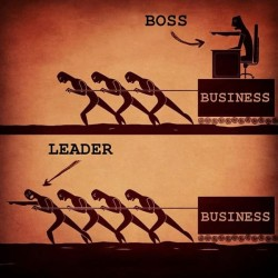 9gag:  The difference between a Boss and a Leader
