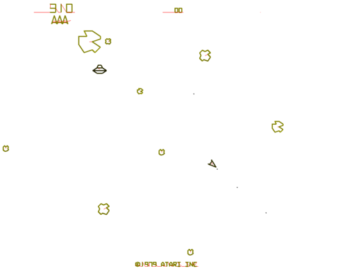 An image of Asteroids, showing the normally invisible vector lines that join lettering and the centres of the asteroids and spaceships themselves, taken from a 2008 c't magazine programming contest to program a player for the game.
