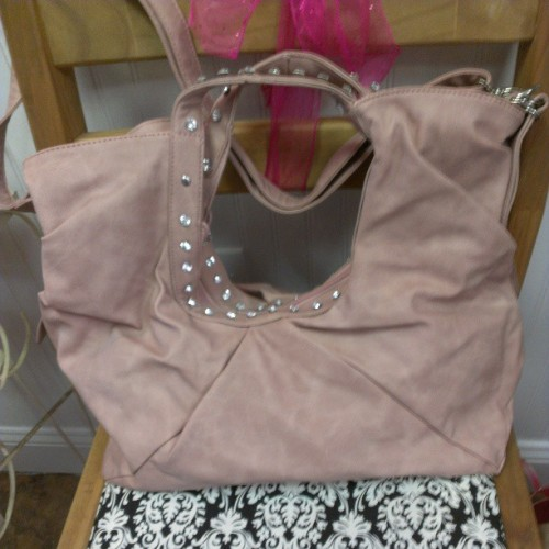 Perfect in pink…rhinestone embellished handbag at Clever Diva $35 (at Clever Diva)