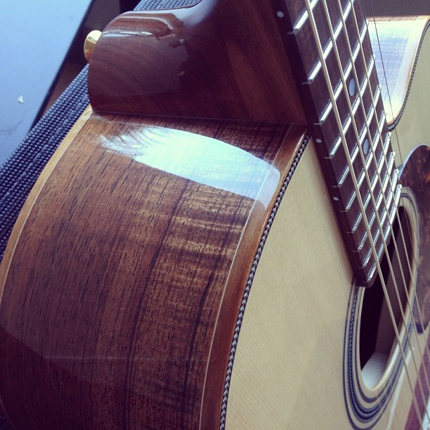 "markymark71:  The new Maton EA80C ""Australian"". How awesome is the wood grain?! #maton #acoustic #guitar (at Neutral Bay)"